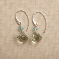 green gemstone earrings green amethyst earrings holiday by izuly, $38.00