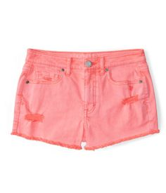 """No need to brag to your BFFs about how fashion-savvy you are -- our High-Waisted Destroyed Neon Denim Shorty Shorts will do all the talking! These super-trendy bottoms come in a vivid, eye-popping hue that'll wow 'em all; major destruction and frayed hems add casual vibes perfect for gals with attitude.<br><br>Slim fit. Approx. inseam (2): 2.5""""; Rise: 9.5""""<br>Style: 4484. Imported.<br><br>98% cotton, 2% spandex.<br>Machine wash/dry."""