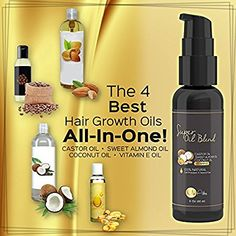 PURE Castor Oil with Sweet Almond Oil, Coconut Oil and Vitamin E Oil - Best Hair Growth, Regrowth, & Conditioning Oil Blend for Eyelashes & Eyebrows. 100% Natural - NO Parabens, Fillers or Toxins