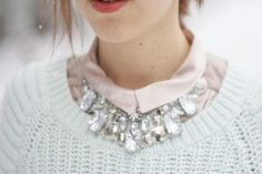 Trend: A statement necklace under a collar