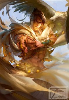 abs animal animal_on_shoulder bird black_hair cape dagger eagle earrings eyebrows feathers fighting_stance highres jewelry kazama_jin manly muscle red_eyes ring solo tekken thick_eyebrows tribal ultramarine weapon Character Inspiration, Character Art, Character Design, Character Concept, Character Ideas, Writing Inspiration, Fantasy Male, Fantasy World, Lotr