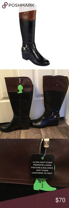 Liz Claiborne Riding Boots - Wide Calf, Size 9W Liz Claiborne - Black, wide calf boot, with brown top, small heel, and gold accents. These beautiful riding boots are NWT, and have never been worn! Size 9W. Liz Claiborne Shoes Heeled Boots