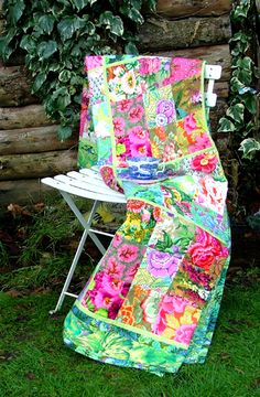 Gorgeous color and basic construction.....an example of why I should keep collecting large scale florals/Kaffe Fassett