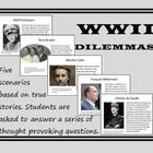 Students are given five scenarios that involve World War II, the Holocaust, and its aftermath.  Then they are asked to answer a series of thought p...