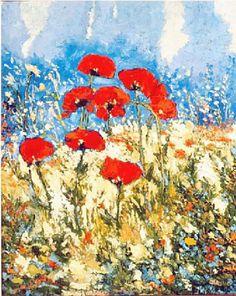 Artwork >> Pierre Vanmansart >> #artworks, #masterpiece, #art, #painting, #flowers, #poppies