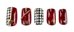 Baker Street False Nails – Deco NailsBurgundy & Houndstooth nailsBurgundy & Houndstooth nails