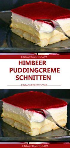 Kuchen ohne Backen – Himbeer-Puddingcreme Schnitten 😍 😍 😍
