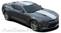 2016 Chevy Camaro OVERDRIVE Center Wide Hood Roof Trunk Spoiler Rally Racing Stripes Kit fits SS RS V6 Vinyl Graphic Stripe Decal Kits Vehicle Specific Accent Striping Decals Packages | AutoGraphicsPro Fast Install Car Decals