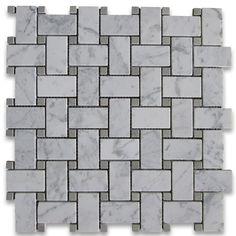 Carrara White 1x2 Basketweave Mosaic Tile w/ Gray Dots Honed