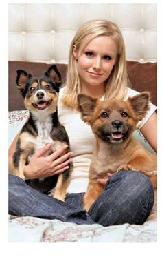 Photo of Kristen Bell & her Dog Mr. Shakes & Sadie