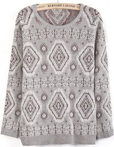Camel Long Sleeve Metallic Yoke Geometric Sweater US$32.79
