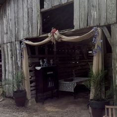 Entry to barn reception or would look beautiful on rustic arbor and pergola!