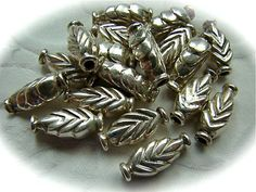 Sterling silver tube beads leaf pattern FOUR by NancyLynnDesigns