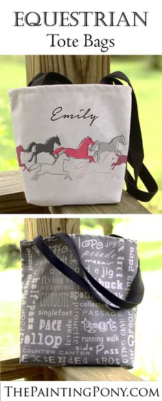 Tote Bags for the horse lover! Equestrian style ringside totes for horse shows or any trip you need a tote to carry your stuff to the barn! Great personalized tote bags make a perfect gift for the horse rider and trainer any time.