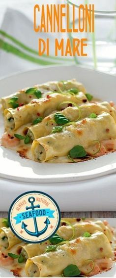 Cannelloni al mare Fish Recipes, Pasta Recipes, New Recipes, Cooking Recipes, Crespelle Recipe, Cannelloni Ricotta, Homemade Pasta, Ravioli, Fish Dishes