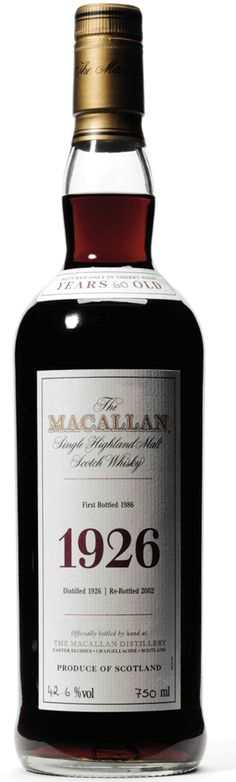 The Macallan Fine and Rare Collection, 1926, 60 Years Old..$100.000