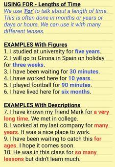 USING FOR – Length of Time – AskPaul English #grammar  #learnenglish #teach english #toefl #toeic #teachers Improve English Grammar, English Learning Spoken, English Grammar Rules, Advanced English Vocabulary, English Idioms, English Writing, English Study, English Lessons, Grammar Lessons