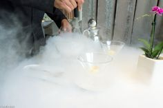 ABaC chef, Jordi Cruz and holder of 2** Michelin while working on a Nitro cocktail made on site. Barcelona, Catalonia