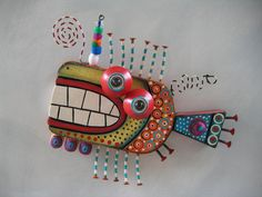 Twisted Fish 132, Original Found Object Sculpture, Wood Carving, Wall Art, by Fig Jam Studio