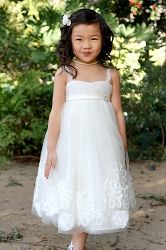 Sweet Pattis White Floral Embroidered Tulle Dress