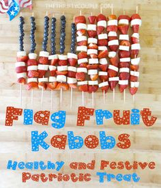 Flag Fruit Kabobs made with blueberries, strawberries, bananas in the shape of an American Flag. I love this patriotic snack! I am always looking for simple, frugal (in season fruits), healthy treats and snacks! This is way too much fun for the 4th of July! It will feed a lot with just a little fruit too! LOVE IT!! Who is going to make these for the 4th of July now?