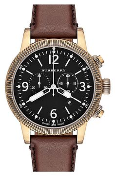 • the world s catalog of ideas burberry round leather strap watch 46mm nordstrom
