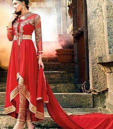 Buy Red georgette embroidered semi stitched salwar with dupatta anarkali-salwar-kameez online