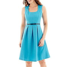 JC Penny | Black Label by Evan-Picone Cap-Sleeve Belted Fit-and-Flare Dress