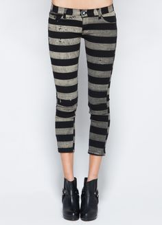 Black and grey striped, cropped trousers  #black #clothing #style