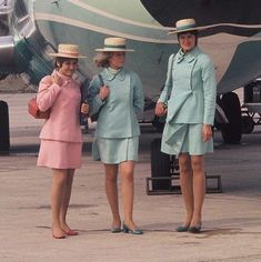 #tbt to the glamorous girls of Court Line with their pastel uniforms and planes ❤️ #bringingbacktheglamour #styleintheaisles #courtline #cabincrew #flightattendant