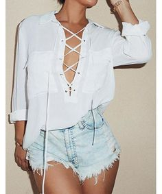 Sexy Turn-Down Collar Long Sleeve White Lace-Up Women's Shirt