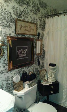 Love the toile paper and the pictures ~ so pretty.