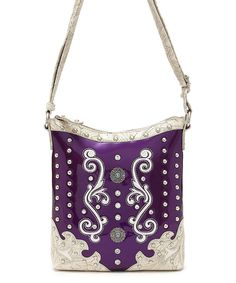 Look at this Cowgirl Trendy Purple Studs Décor Crossbody Bag on #zulily today!