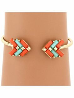 Coral and Turquoise Arrow Cuff Bracelet