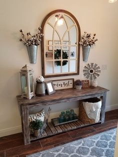 11 Cozy Farmhouse Living Room Decor Ideas That Make You Feel In Village - harian. 11 Cozy Farmhouse Living Room Decor Ideas That Make You Feel In Village - hariankoran Always aspired to learn to knit, n. Rustic Entryway, Entryway Ideas, Farmhouse Entryway Table, Farmhouse Living Room Decor, Front Entryway Decor, Rustic Entry Table, Entry Tables, Rustic Room, Entry Table With Mirror