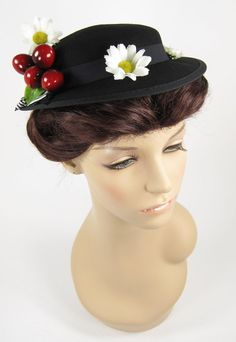 Mary Poppins Costume Hat with Cherries and Daisies by SkirtStar