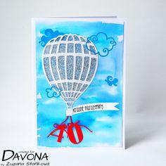 Přání s létajícím balónem pro muže s postupem krok za krokem. | Davona výtvarné návody