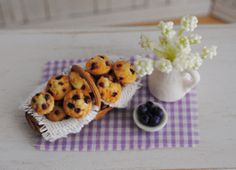 Miniature Basket Of Blueberry Muffins