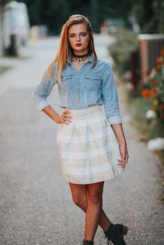 cream ultra chic sequin and striped skirt