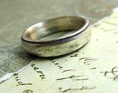 Rustic Men's Wedding Ring, Comfort Fit Band, Domed, Sterling Silver, Metalwork, Brushed... Large, 8mm