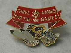 Salt Lake 2002 Mascots Olympics Olympic Games Red Banner Lapel Hat Pin Badge ~ This Item is for sale at LB General Store http://stores.ebay.com/LB-General-Store ~Free Domestic Shipping ~