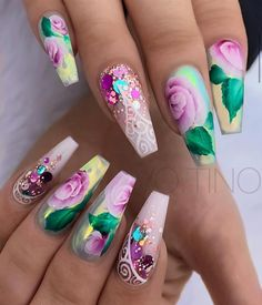 Give your nails a spin with eye-catching flower nail designs with roses. Experiment with cheery spring nail designs. Go through our nail art with roses step by step instructions here. For that extra p Glam Nails, Fancy Nails, Bling Nails, Cute Nails, Pretty Nails, Beautiful Nail Designs, Cute Nail Designs, Beautiful Nail Art, Flower Nail Designs