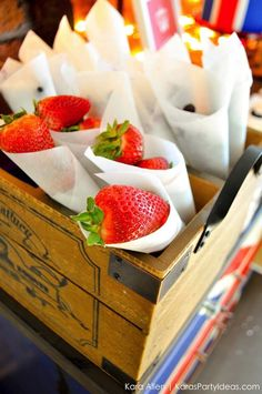 Cute idea to serve fruit! Red, white, blue 4th of July party ideas via Kara Allen | Kara's Party Ideas