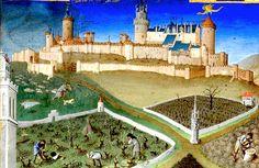 22. Les riches heures du duc de Berry. Mars. Le château de Lusignan construit dans la seconde moitié du X°S. récupéré sur les anglais et reconstruit au temps du duc. Avait servi de prison à Jacques Coeur et à Louis XII.