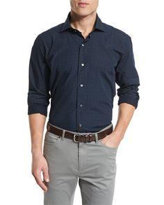 Mini Paisley-Print Sport Shirt, Blue, Men's, Size: XX-LARGE - Peter Millar