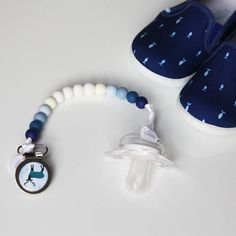 Blue Tie Dye Dual Attachment Dummy Saver Pacifier Clip  ACCC Compliant