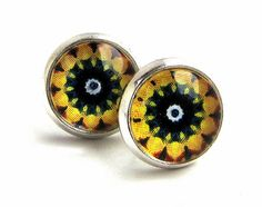Yellow silver plated stud earrings, glass by JewelryByJolanta