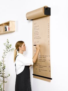 The Studio Roller is an innovative way to display information in your café, office or home. The simple and functional wall-mounted bracket seamlessly dispenses kraft paper to write ideas, menus, specials and daily tasks. Shipped worldwide. For more information head over to our website http://www.georgeandwilly.com
