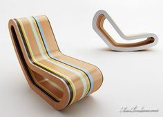 Caramelo, a colorful wooden rocking chair designed by Luis Luna for kids