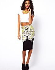 ASOS Pencil Skirt in Floral Baroque Print